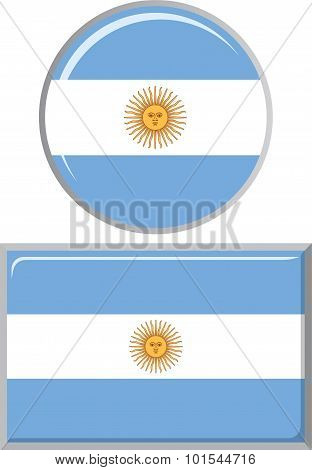 Argentinean round and square icon flag. Vector illustration.