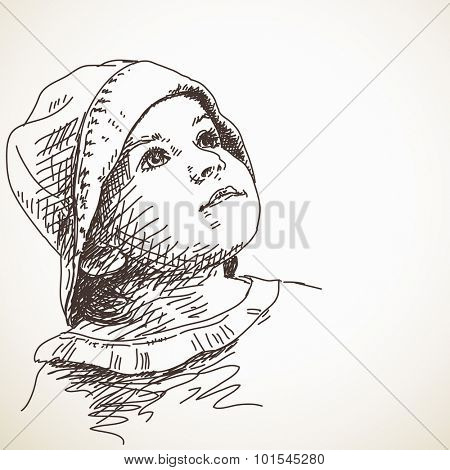 Sketch of child girl in panama hat looking up, Portrait, Hand drawn illustration poster