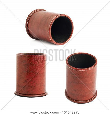 Red leather pen holder cylinder