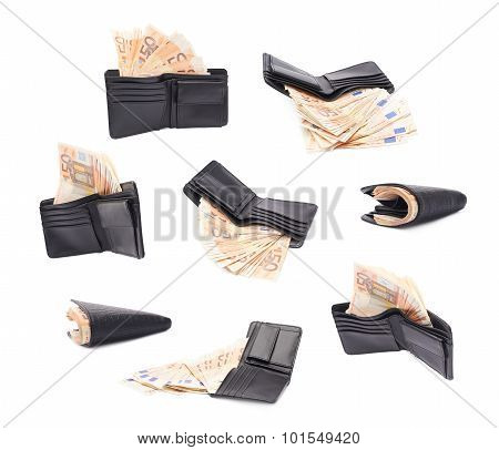 Black leather wallet full of fifty euro bank notes isolated over the white background, set of multiple different foreshortenings poster