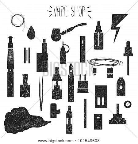 Icons Vape. Hand Graphics.
