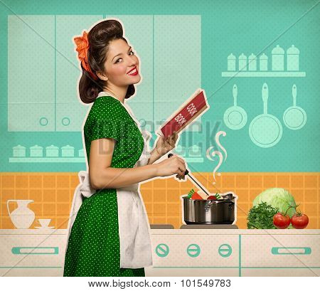 Retro Smiling Woman Cooking And Reading Recipe Book In Her Kitchen Room