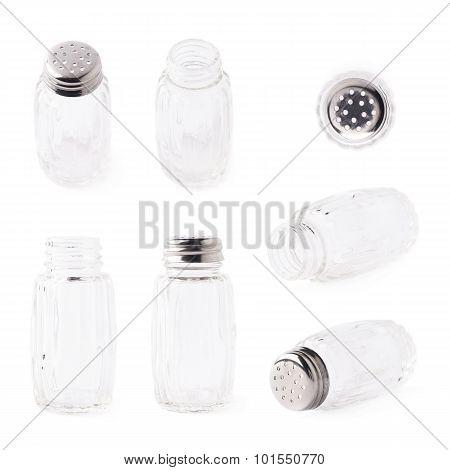 Glass salt bottle isolated