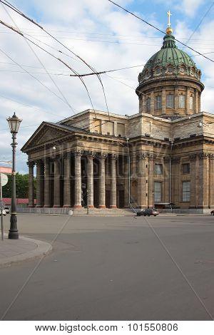 Kazan Orthodox Cathedral at summer morning. Saint-Petersburg, Russia poster