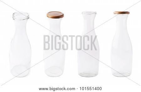 Empty milk glass bottle isolated