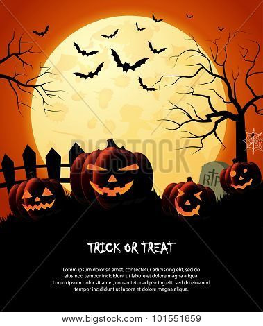 Halloween night orange trick or treat background with pumpkins and moon