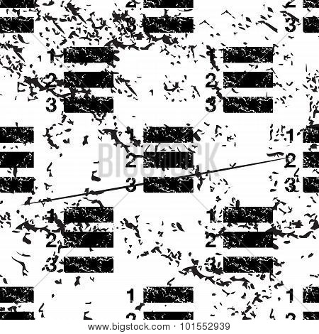 Numbered list pattern, grunge, black image on white background poster
