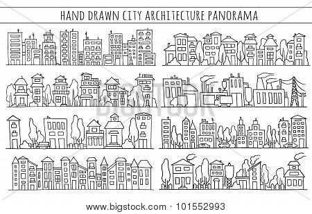 Scketch Big City Architecture With Houses