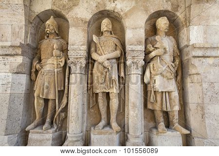 Beautiful sculptures at the Fisherman's Bastion in Budapest Hungary. poster