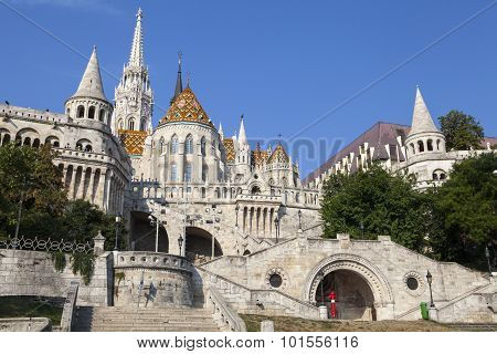 The historic Fisherman's Bastion in Budapest Hungary. poster