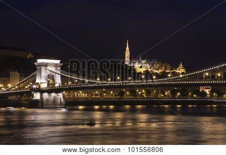 Chain Bridge With St Matthias Church And The Fisherman's Bastion