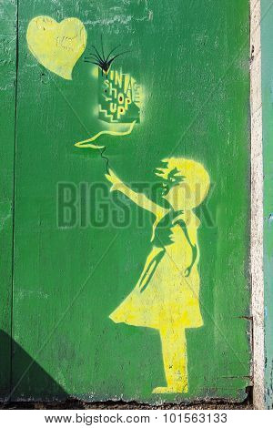 Banksy Style Graffiti In York