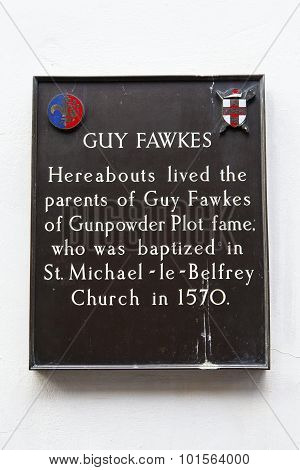 Guy Fawkes Plaque In York