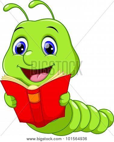 Cartoon worm reading a book