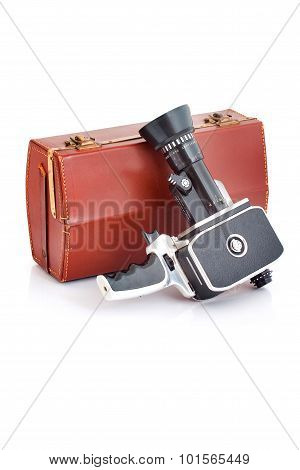 Old film camera with case
