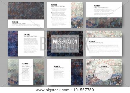 Set of 9 templates for presentation slides. Graffiti wall. Abstract multicolored backgrounds. Geomet