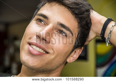 Happy Thoughtful Man With Tears On His Face