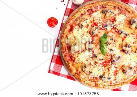 Tasty pizza with vegetables and napkin isolated on white