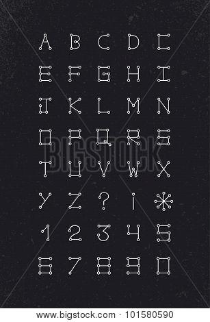 Alphabet Font Geometric Set Modern Simple Line