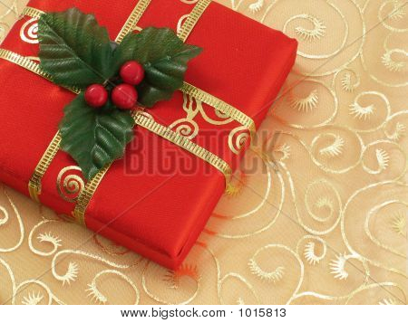 Red Christmas Gift Box With Gold Ribbon