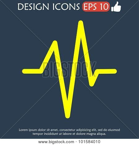Heart beat Cardiogram Medical icon - Vector. Flat design style eps 10 poster