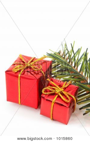 Two Christmas Presents, Green Tree On White Background.