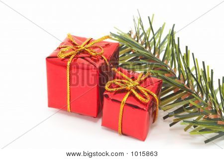 Christmas Presents, Green Tree On White Background. Landscape