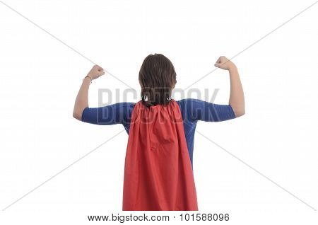 Woman Superhero With Red Cape.