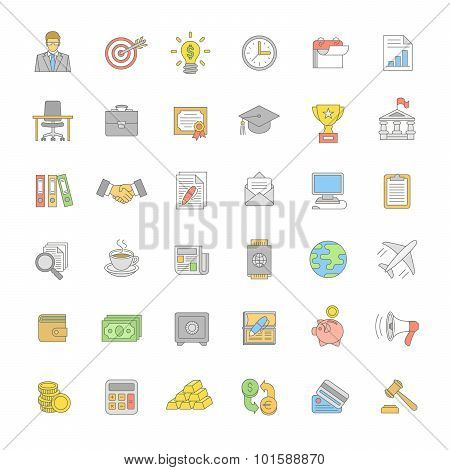 Flat Thin Line Color Business And Finance Icons