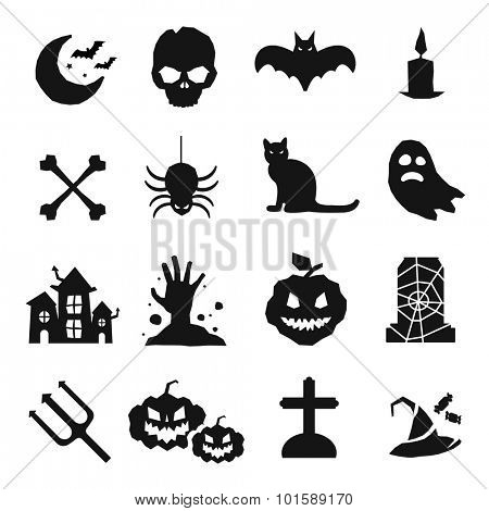 Halloween vector icons set. Pumpkin head, witch broom, candy and halloween hat. Black halloween icons set, halloween silhouette for helloween party design. Helloween night, ghost, black cat, zombie
