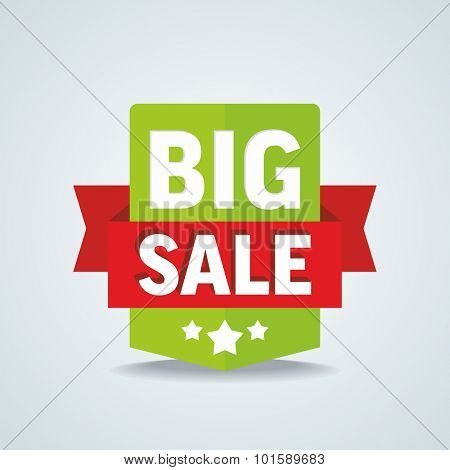 Big sale badge with red ribbon. Vector illustration.