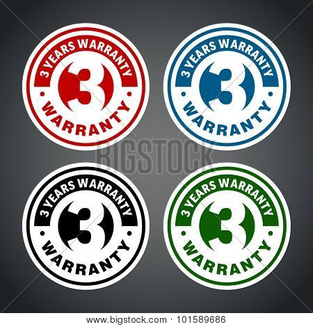 Three years warranty badge. Different colors