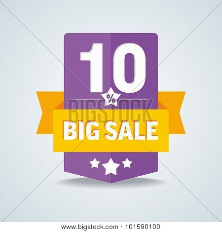 Big sale 10 percent badge with yellow ribbon. Vector illustration.