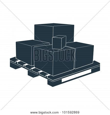 pallet box vector transportation storage packing crate loading