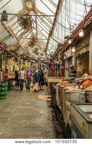 People walking in Jerusalem Market