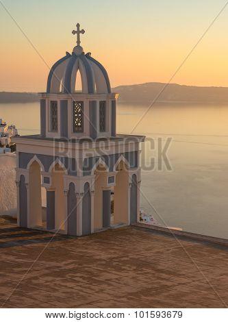 Church At Sunset Over  Caldera, Santorini, Greece