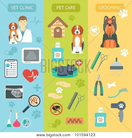 Set Of Vertical Banners. Pet Care. Vet Clinic. Grooming. Flat Design. Vector