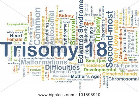 Background concept wordcloud illustration of trisomy 18