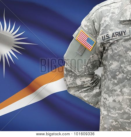 American Soldier With Flag On Background - Republic Of The Marshall Islands