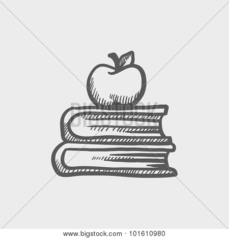 Books and apple on the top sketch icon for web, mobile and infographics. Hand drawn vector dark grey icon isolated on light grey background.