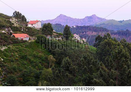 marvelous purple mountain peaks at Peneda-Geres National Park in northern Portugal.