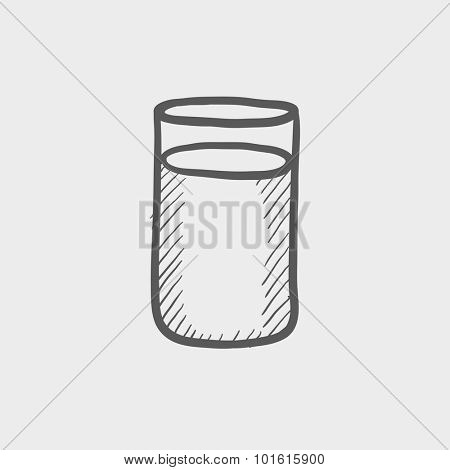 Glass of water sketch icon for web, mobile and infographics. Hand drawn vector dark grey icon isolated on light grey background.
