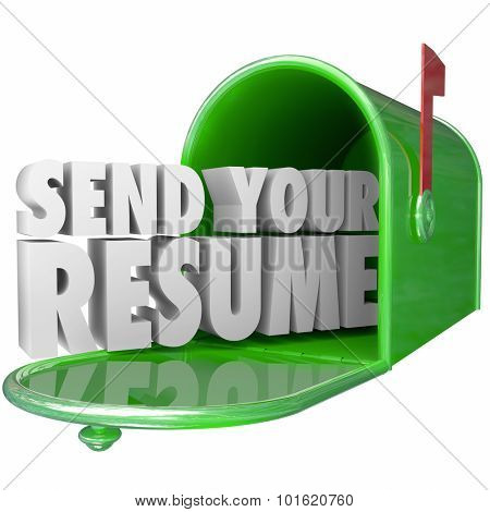 Send Your Resume in 3d letters in a green metal mailbox to apply for an open job position in a new career opportunity