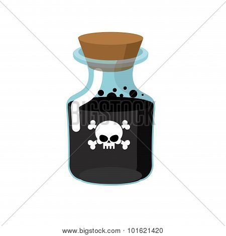 Poison. Bottle With A Black Liquid. Glass Magic Bank With Skull And Bones. Vector Illustration