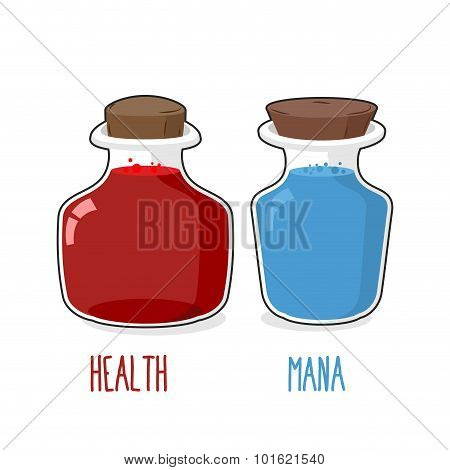Health And Mana. Magic Bottle With Blue And Red Potion. Set Of Glass Jars For Games.  Vector Illustr