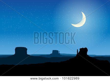 Arizona Rocks Valley At Night