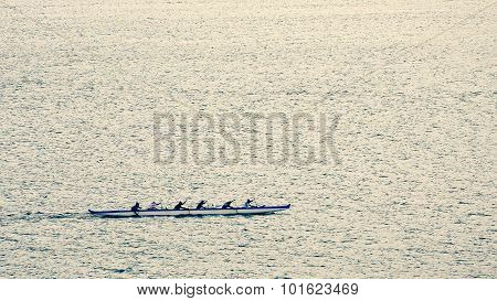 Outrigger Canoe Team Rowing Near Lahaina, Hawaii