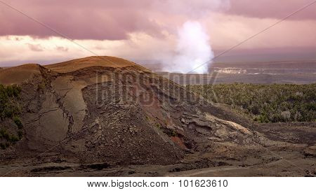 Steam And Smoke Rising From The Active Halemaumau Crater In Volcanoes National Park, Hawaii Big Isla
