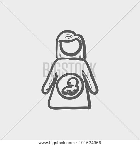 Baby fetus in mother's womb sketch icon for web, mobile and infographics. Hand drawn vector dark grey icon isolated on light grey background.