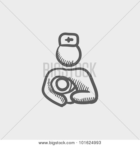 Nurse holding the baby sketch icon for web, mobile and infographics. Hand drawn vector dark grey icon isolated on light grey background.